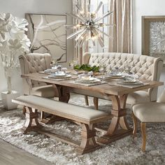 75 Vintage Dining Table Design Ideas DIY – Best Home Decorating Ideas Shabby Chic Dining Room, Dining Room Table Decor, Dining Table Design, Dining Room Furniture, Furniture Design, Room Decor, Dinning Table With Bench, Dining Table Decor Everyday, Vintage Furniture