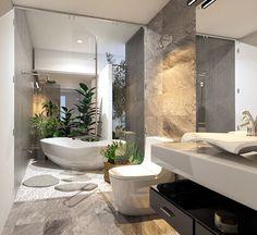 Dream Bathrooms, Beautiful Bathrooms, Dream Home Design, House Design, Bathroom Design Luxury, House Rooms, Luxury Interior, Bathroom Inspiration, Interior Design Living Room