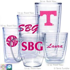 Personalized Neon Pink University of Tennessee Tervis Tumblers