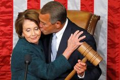 I can't tell if she likes the kiss or is he waiting to smack her with that gavel.   Give me gavel I would smack both of them.