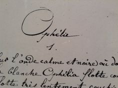 Ophélie, Arthur RIMBAUD