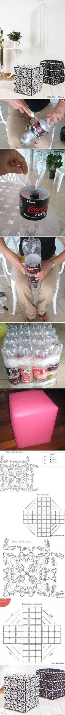 DIY Ottoman Out of Plastic Bottles DIY Ottoman Out of Plastic Bottles by diyforever
