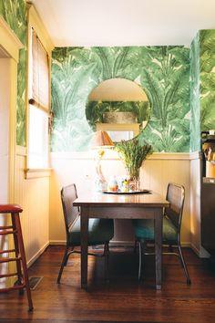 I love large print wallpaper, especially tropical theme - A Wild Wallpapered Kitchen Kitchen Spotlight | The Kitchn