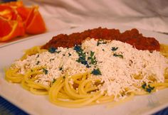 Return of the Yummy: Friday Dinner: Spaghetti with Meat Sauce, and Browned Butter and Mizithra