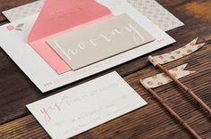 Oh So Beautiful Paper: Jill + Brian's Modern Pink Letterpress Wedding Invitations