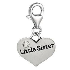 """Clip on """"Little Sister"""" Two Sided Heart W/Crystal Charm Pendant for European Jewelry w/ Lobster Clasp SEXY SPARKLES http://www.amazon.com/dp/B00LG6Y3G4/ref=cm_sw_r_pi_dp_joOxub151NQZ8"""