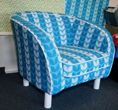 How to Upholster a Chair....sort of looks like the Ikea chair I have that I need to get covers for...this would be perfect to do but needs lots of patience!