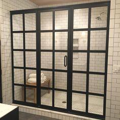 Shower Door, Subway Tile, Penny-round floor tile