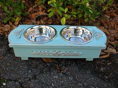Shabby Chic raised pet feeder for our sick pup | Patterned