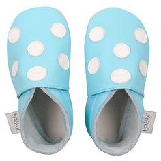 soft sole blue/white polka dots