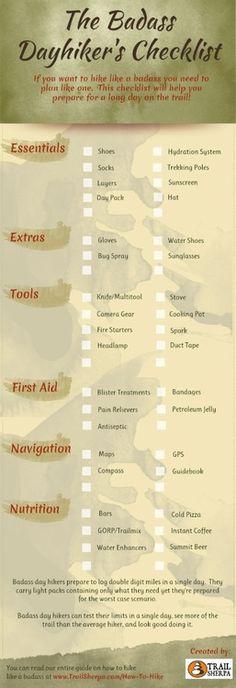 dayhiking checklist