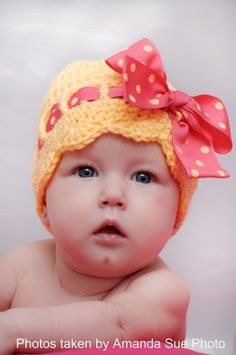 Pattern Directions for Making a Crochet Sunny Bow Hat for Infant and Toddlers Photo Prop PDF. $4.00, via Etsy.