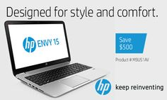 Designed for style and comfort, check out the new HP Envy 15! Plus, save $500 on your purchase when you use your Abenity Discount Program! http://discounts.abenity.com/perks/offer/1:44970