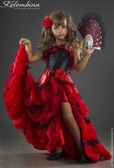 Купить костюм Кармен, Испанка - ярко-красный, костюм кармен, костюм испанка, атлас, шифон