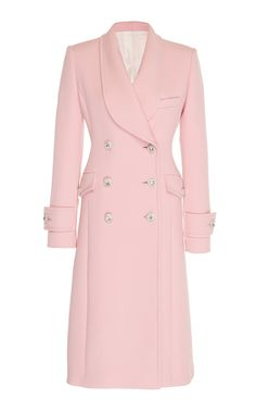 This **Alessandra Rich** Double Breasted Wool Coat features a knee length hem with long sleeves and jeweled button details. Pink Fashion, Hijab Fashion, Fashion Outfits, Fashion Coat, Korean Fashion, Style Fashion, Vintage Fashion, Fashion Tips, Fashion Trends
