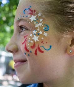 Published at 400 × 476 in adults · of july eye bling by auntie stacey's face painting Face Painting Tutorials, Face Painting Designs, Paint Designs, Design Tutorials, 4th Of July Makeup, Belly Painting, Maquillage Halloween, July Crafts, Painting For Kids