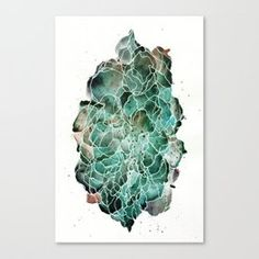 Abstract Watercolor Cloud Painting in Blue, Teal, and Green Canvas Print Watercolor Clouds, Abstract Watercolor, Teal, Blue, Canvas Prints, Green, Painting, Art, Art Background