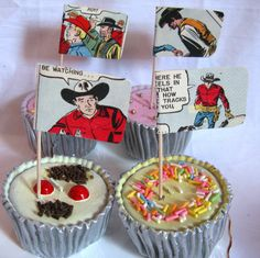 Cowboy Cake Toppers, Vintage Roy Rogers Canape Sticks. Eep! I would LOVE to have these!
