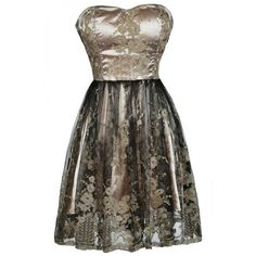 Gilded Onyx Metallic Embroidered A-Line Dress ($40) ❤ liked on Polyvore featuring dresses, embroidery dress, a line cocktail dress, empire waist formal dresses, a line dress and strapless sweetheart dress