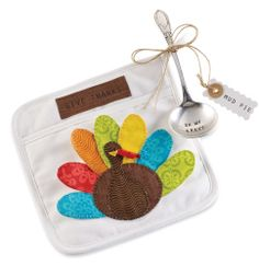 """Turkey Pot holder Set  2-piece set. """"Give Thanks"""" kitchen potholder features turkey applique and includes ladle stamped """"OH MY GRAVY."""" Wonderful Hostess Gift!"""