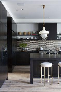 25 Inspiring Black Kitchens for Modern Home Design : White Kitchen Stools With Black Kitchen Countertop Design