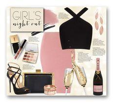 """#378 - Girl's Night Out"" by lilmissmegan ❤ liked on Polyvore featuring St. John, Glamorous, Lipstick Queen, Nina Ricci, BCBGMAXAZRIA, NARS Cosmetics, Jimmy Choo, tarte, Yves Saint Laurent and Lana"