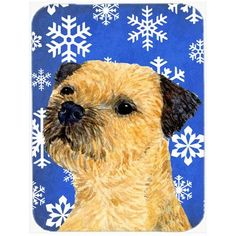 Caroline's Treasures Snowflakes Border Terrier Glass Cutting Board Color: Blue/White