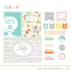 Planner & Journaling Printables ❤ Wanderlust - free Printable Shapes at Studio Calico Project Life Travel, Digital Project Life, Planner Stickers, Printable Planner, Free Printables, Project Life Freebies, Project Life Cards, Travel Scrapbook, Scrapbook Pages