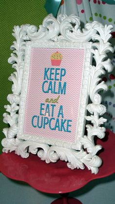 Keep Calm Eat a Cupcake in This C is For Cupcake Birthday Party. I love cupcakes! This shall be my mantra. Cupcake Wars Party, Cupcake Decorating Party, Diy Party Decorations, Birthday Cupcakes, Cupcake Table, Baking Birthday Parties, Baking Party, Pumpkin Patch Party, Little Girl Birthday