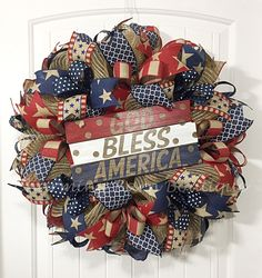 4th of July Wreath, July 4th Wreath, God Bless America Wreath, Patriotic Wreath, July 4th Decor, Patriotic Decor, Primitive, 4th of July by CharmingBarnBoutique on Etsy