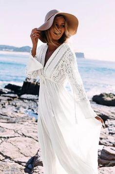 e971fa501a6 PopYourChic White Lace Drawstring Lace-up Flowy Tassel Deep V-neck Las  Vegas Bohemian Maxi Dress