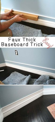 9. Putting an extra piece of trim in, and painting in between, you will get faux thick baseboards!