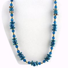 Blue and Gold Lampwork Necklace, Statement Necklace, Gifts for Her, Dressy Necklace by ramonahall on Etsy