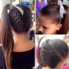 Loving this french braid into aq high ponytail with a littlw bow from peinadoscolorin. source