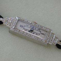 antique and vintage ladies watches   Antique Art Deco Platinum and Diamond Ladies Watch