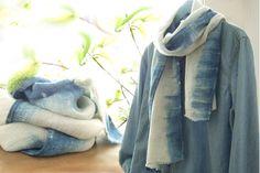 Indigo linen scarf French linen flax High quality by dyeing2meetU
