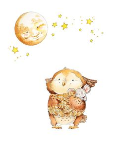 Watercolor Nursery Art.  Owl and Moon Bedtime Illustration -Watercolor GicleePrint, Original Artwork, Children's illustration
