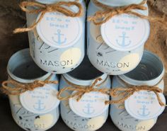 Painted Mason Jars with Nautical Tag Ahoy It's a by charmcitycharm