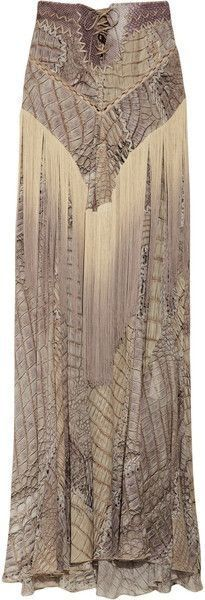 silk fitted long skirt with elegant detail. Love the laced front corset style top of the skirt.