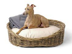 Oval Greywash Wicker Dog Bed & Reversible Mattress Set