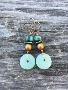 Sea Glass Earrings Boho Earrings Beach by BeachBohoJewelry on Etsy