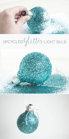 This glitter light bulb makes a great ornament, that is a fun and easy craft for a rainy day! Learn how to add homemade ornaments to your tree this year. Recycled Christmas Decorations, Hanging Christmas Lights, Diy Christmas Ornaments, Christmas Bulbs, Diy Christmas Decorations For Home, Homemade Ornaments, Christmas Ideas, Recycled Light Bulbs, Light Bulb Crafts