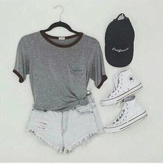 Gray Pocket Tee and Light Denim Shorts with White High-Top Converse