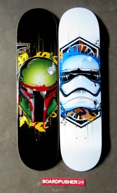 "This week we have a couple of www.BoardPusher.com Featured Decks, ""Bounty Style"" and ""Trooper Style"" designed by Carlos Donoso of inkOne. Check out more of Carlos's pop culture influenced style on Instagrm @inkone_art (http://www.instagram.com/inkone_art).  Try turning what inspires you into skateboard graphics by designing your own on www.BoardPusher.com. Star Wars Boba Fett"