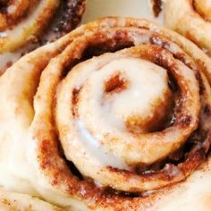 Top down view of Easy Homemade Cinnamon Rolls with frosting.