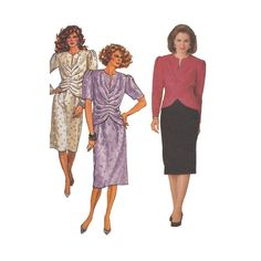 1980s Designer Two Piece Dress Butterick Sewing by Redcurlzs