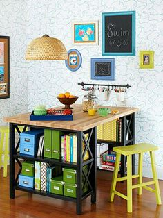 Small Space Storage Solutions wo bookcases plus a wood countertop multitask in any space by providing storage would be great as a craft table Table Storage, Diy Storage, Storage Ideas, Ribbon Storage, Creative Storage, Paper Storage, Wood Storage, Diy Casa, Bar Height Table