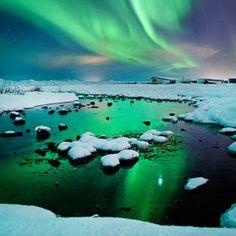 River-light - Iceland - Northern lights - aurora borealis by Olinn Thorisson