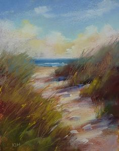 'Down to the Beach We Go'   11x14 original pastel by Karen Marguis