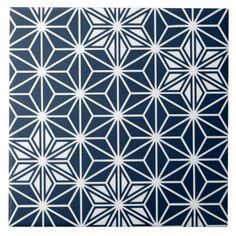 Japanese Asanoha pattern - indigo blue & white Ceramic Tile